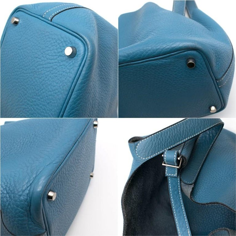 Hermes Clemence Leather Blue Jean Picotin 18 Bag For Sale 3