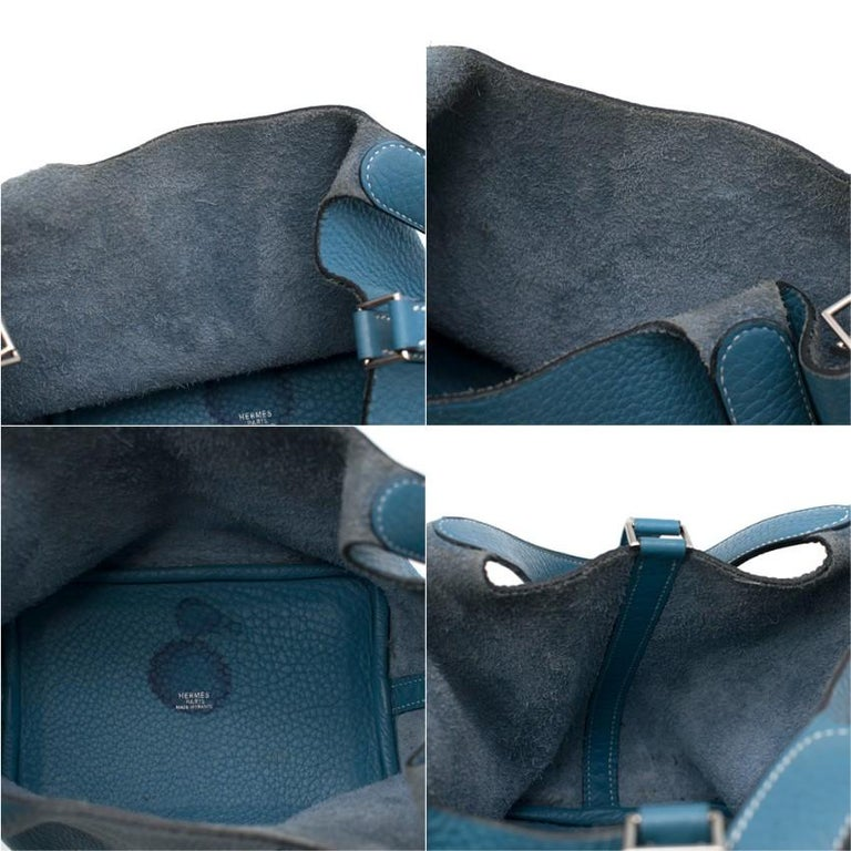 Hermes Clemence Leather Blue Jean Picotin 18 Bag For Sale 4