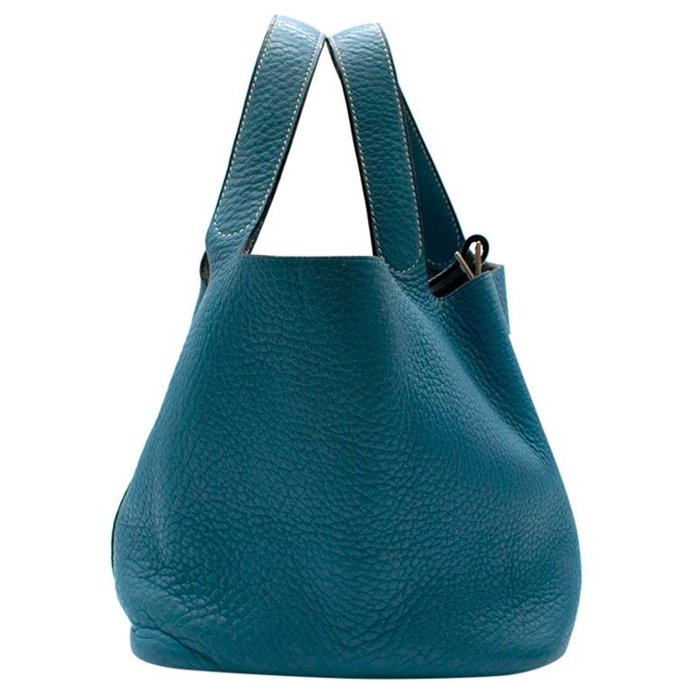 Hermes Clemence Leather Blue Jean Picotin 18 Bag For Sale