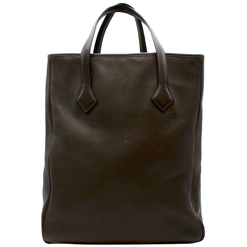 Hermes Clemence Leather Ebene Victoria Cabas Tote 35