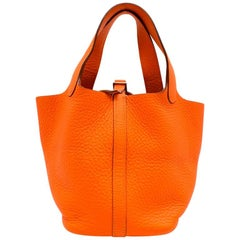 Hermes Clemence Leather Orange Poppy Picotin Lock 18