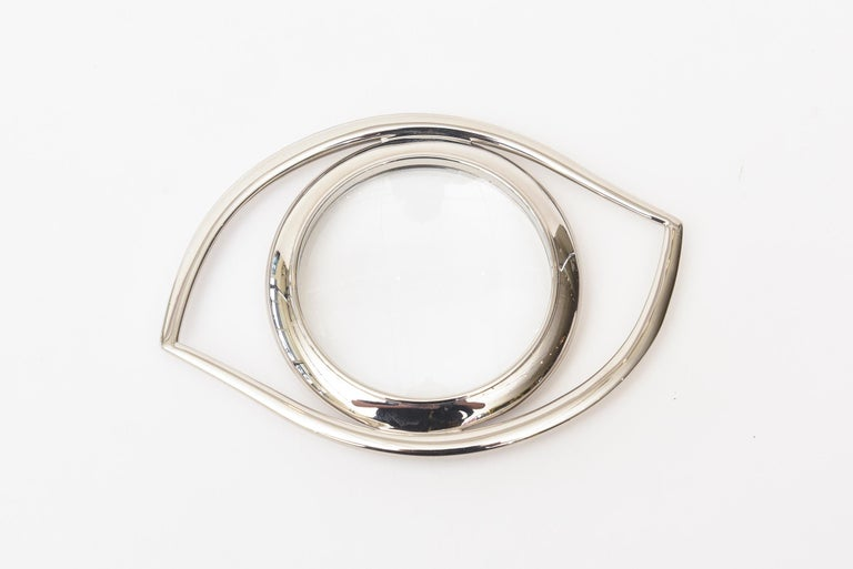 Hermès Cleopatra Eye Magnifier Silver Plated Vintage Desk Accessory In Good Condition For Sale In North Miami, FL