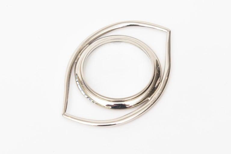 Hermès Cleopatra Eye Magnifier Silver Plated Vintage Desk Accessory For Sale 2
