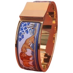 Hermès Clic Clac Bracelet Lions and Lionesses in Savannah Enamel Gold Plated GM