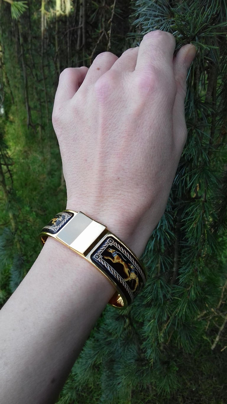 Hermès Clic Clac Enamel Bracelet Greyhound Dog Lévriers Gold Plated Hdw GM For Sale 7