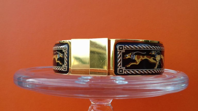 Hermès Clic Clac Enamel Bracelet Greyhound Dog Lévriers Gold Plated Hdw GM For Sale 1
