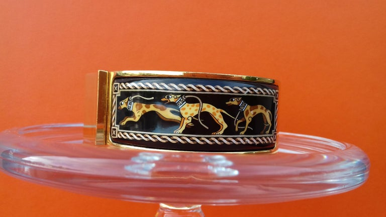 Hermès Clic Clac Enamel Bracelet Greyhound Dog Lévriers Gold Plated Hdw GM For Sale 2