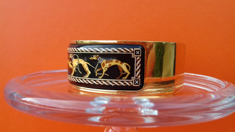 Hermès Clic Clac Enamel Bracelet Greyhound Dog Lévriers Gold Plated Hdw GM For Sale 3
