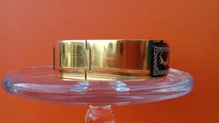 Hermès Clic Clac Enamel Bracelet Greyhound Dog Lévriers Gold Plated Hdw GM For Sale 4