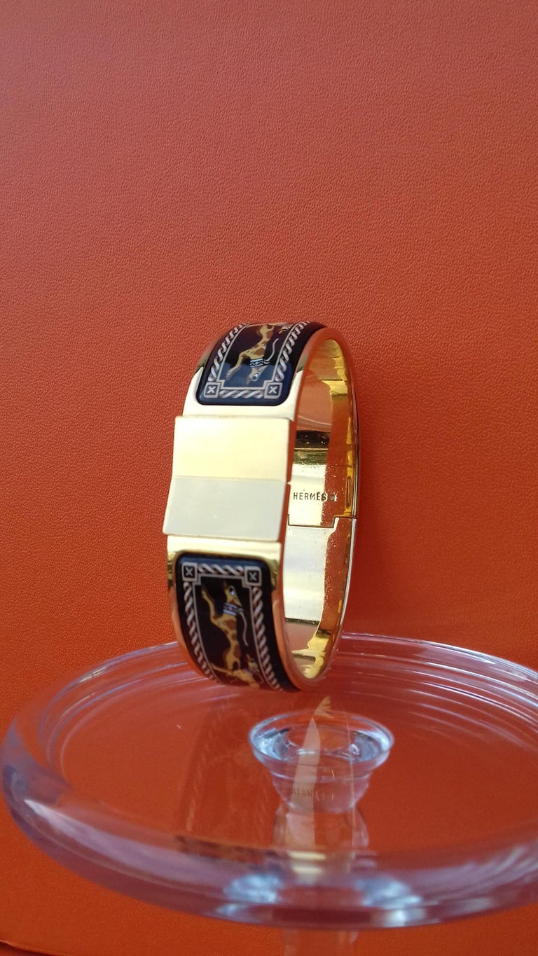 Hermès Clic Clac Enamel Bracelet Greyhound Dog Lévriers Gold Plated Hdw GM For Sale 5