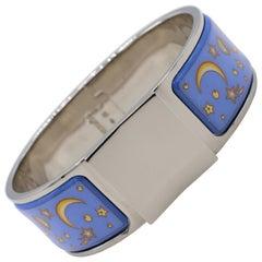 Hermes Clic Clac Enamel Bracelet Moon and Stars