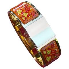Hermès Clic Clac Enamel Printed Bracelet Rencontre Oceane Fish Ghw