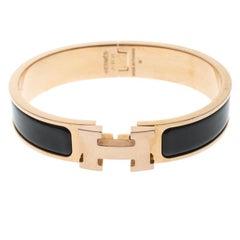 Hermes Clic Clac H Black Enamel Rose Gold Plated Narrow Bracelet PM