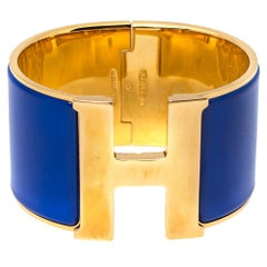 Hermès Clic Clac H Blue Enamel Gold Plated Wide Bracelet PM