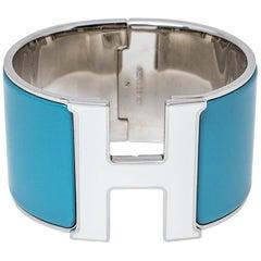 Hermès Clic Clac H Blue & White Enamel Palladium Plated Extra Wide Bracelet PM