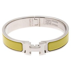 Hermes Clic-Clac H Citron Yellow Enamel Palladium Plated Narrow Bracelet PM