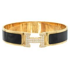 Hermes Clic Clac H Diamond and Black Enamel Bangle Bracelet