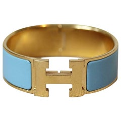 Hermès Clic Clac H Enamel and Gold Plated Bracelet