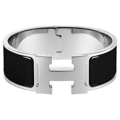 Hermès Clic Clac H Enamel and Palladium Plated Bracelet