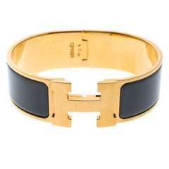 Hermes Clic Clac H Grey Enamel Gold Plated Wide Bracelet GM