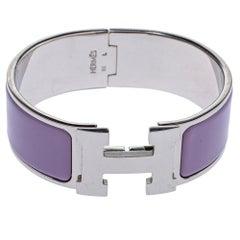 Hermès Clic Clac H Lavender Enamel Palladium Plated Wide Bracelet PM