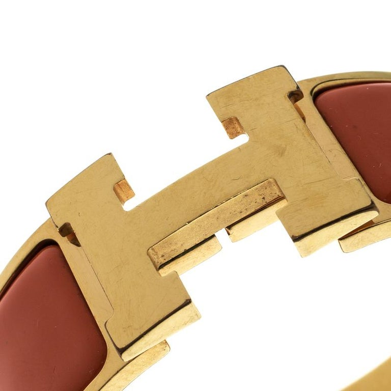 43307d5b0ddd8a Contemporary Hermes Clic Clac H Orange Enamel Gold Plated Wide Bracelet PM  For Sale