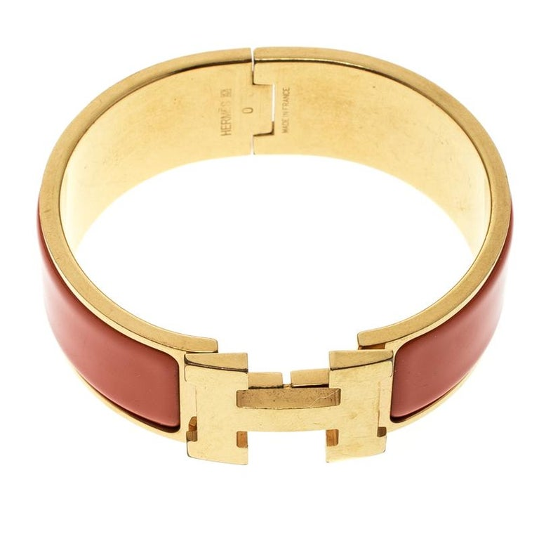 Hermes Clic Clac H Orange Enamel Gold Plated Wide Bracelet