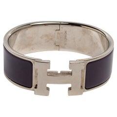 Hermès Clic Clac H Purple Enamel Palladium Plated Wide Bracelet PM