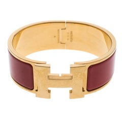 Hermes Clic Clac H Red Enamel Gold Plated Wide Bracelet PM