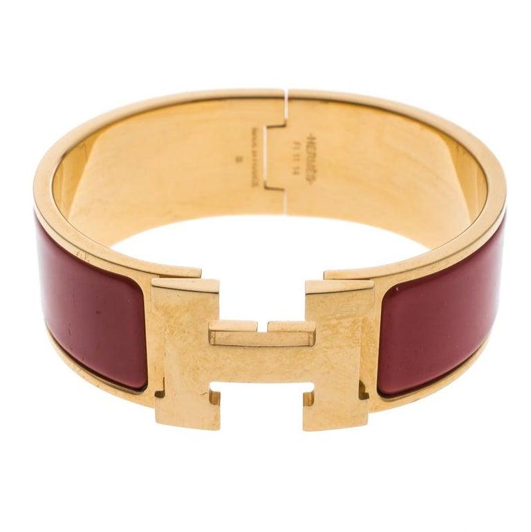 2da66cd388 Hermes Clic Clac H Red Enamel Gold Plated Wide Bracelet PM
