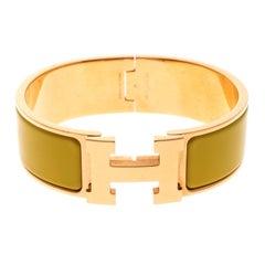Hermes Clic Clac H Sun Yellow Enamel Gold Plated Wide Bracelet GM