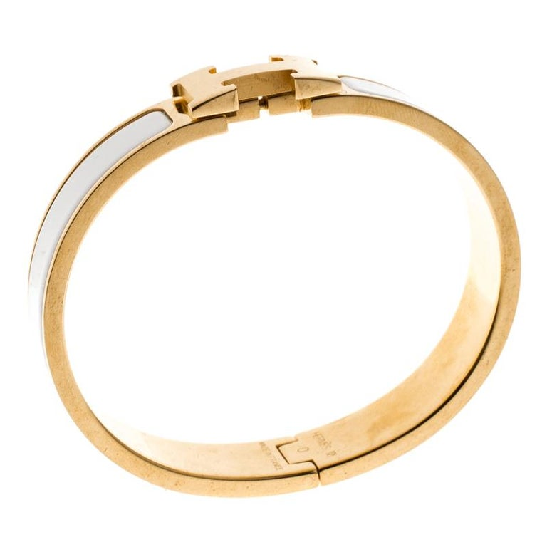 Hermes Clic Clac H White Enamel Gold Plated Narrow Bracelet PM For Sale b7179605ade