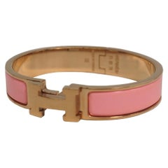 HERMES Clic Clac PM enamel x Palladium plated bangle pink x pink gold