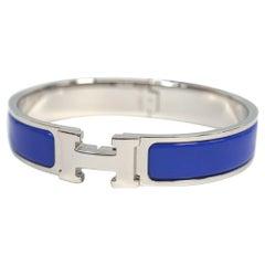 HERMES Clic Clac PM enamel x Palladium plated Womens bangle new color blue x sil