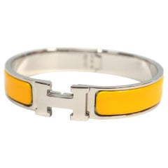 HERMES Clic Clac PM enamel x Palladium plated Womens bangle new color yellow x s