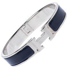 Hermes Clic H Blue Enamel Palladium Plated Narrow Bracelet GM