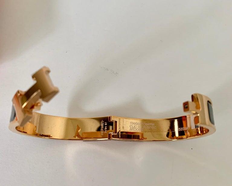 Women's or Men's Hermes Clic H Enamel Bangle Bracelet Ardoise Grey Rose Gold PM For Sale