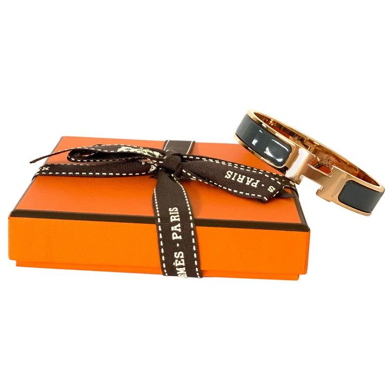 Hermes Clic H Enamel Bangle Bracelet Ardoise Grey Rose Gold PM For Sale