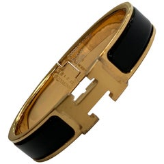 Hermes Clic H Enamel Bangle Bracelet Black with  Gold PM