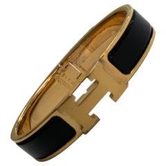 Hermes Clic H Enamel Bangle Bracelet Black with  Gold PM
