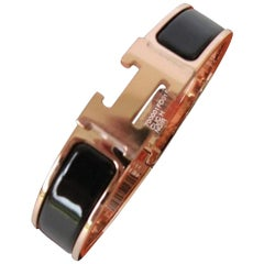 Hermes Clic H Enamel Bangle Bracelet Black with Rose Gold PM