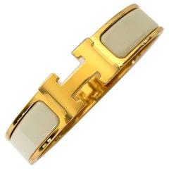 Hermes Clic H Enamel Bangle Bracelet Panacotta Creamy White Gold