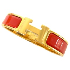Hermes Clic H Enamel Bangle Bracelet Rouge Vif Red  Gold PM