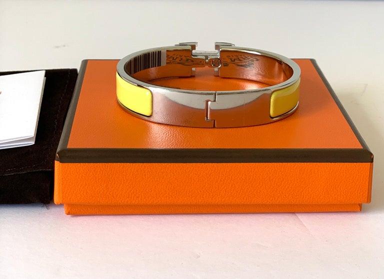 Hermes Clic H Enamel Bangle Bracelet Yellow Palladium In New Condition For Sale In Delray Beach, FL