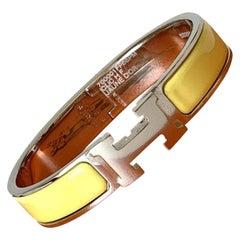 Hermes Clic H Enamel Bangle Bracelet Yellow Palladium