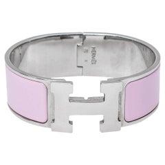 Hermès Clic H Pink Enamel Palladium Plated Narrow Bracelet PM