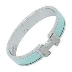Hermès Clic H Sea Green Enamel Palladium Plated Narrow Bracelet PM