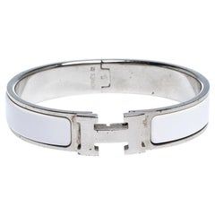 Hermes Clic H White Enamel Palladium Plated Narrow Bracelet PM