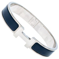 Hermes Clic HH Matte Navy Blue Enamel Palladium Plated Bracelet GM