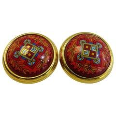 Hermes Clip on Earring 18 Karat Gold Plate Color Full Pattern